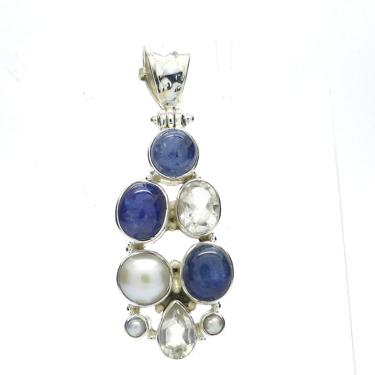 Pendant Blue Sapphire, Pearl, Crystal