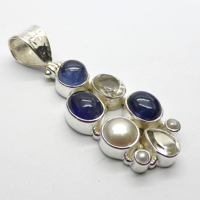 Pendant Blue Sapphire Pearl & Rock Crystal | 925 sterling Silver | Gemini Starstone | Crystal Heart Melbourne Australia since 1986