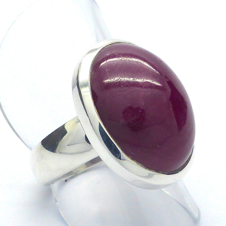 Ruby Ring, Cabochon Oval, 925 Silver