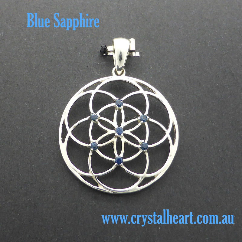 Seed of life Pendant with Gemstone | 925 Sterling Silver | Sapphire or Tsavorite | Harmonise with the Universe | Crystal Heart Australia since 1986