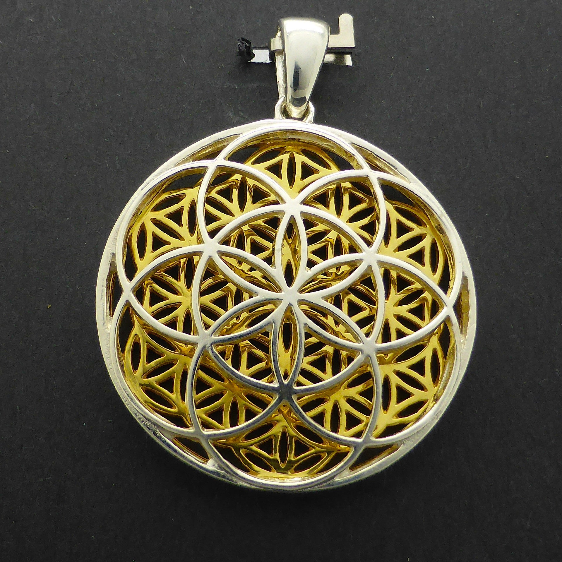 Pendant flower seed of life 925 silver gold crystal heart flower and seed of life combined pendant 925 sterling silver gold plate harmonise mozeypictures Gallery