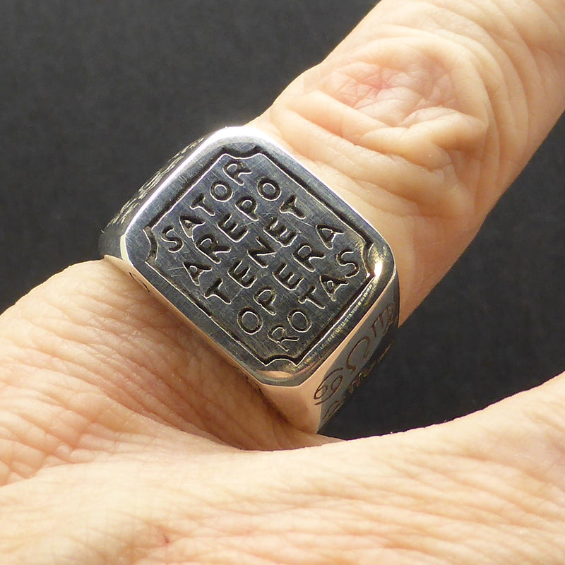 Ring Sator Arepo With Sun Dial Crystal Heart