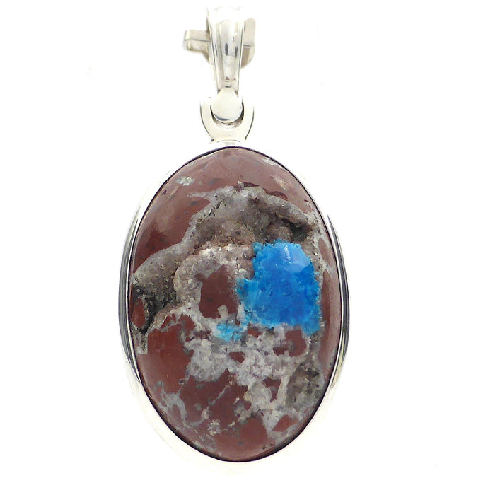 Cavansite Pendant in 925 Sterling Silver | Stilbite & Dark Basalt Matrix | Raw Stone, Partially polished | Blue of Spiritual Truth Emotional Uplift and Clarity | Higher Self and Spiritual Guides  | Genuine gens from Crystal Heart Melbourne Australia since 1986