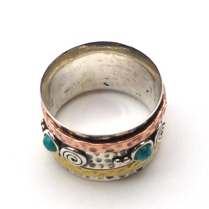 3 tone ring with spinning bands | 925 Sterling Silver Copper Brass | Turquoise Cabs | Crystal Heart Melbourne Australia since 1986