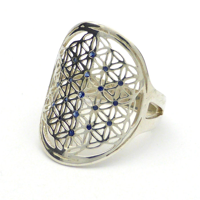 Flower of Life Ring | 925 Sterling Silver | 19 Sapphire Gemstones | US Ring Size 7.75 | Balance personal energies with Cosmic | Gemini stone | Crystal Heart Australia since 1986
