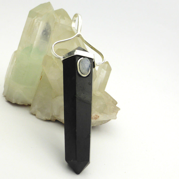 Black Tourmaline Pendant with Moonstone