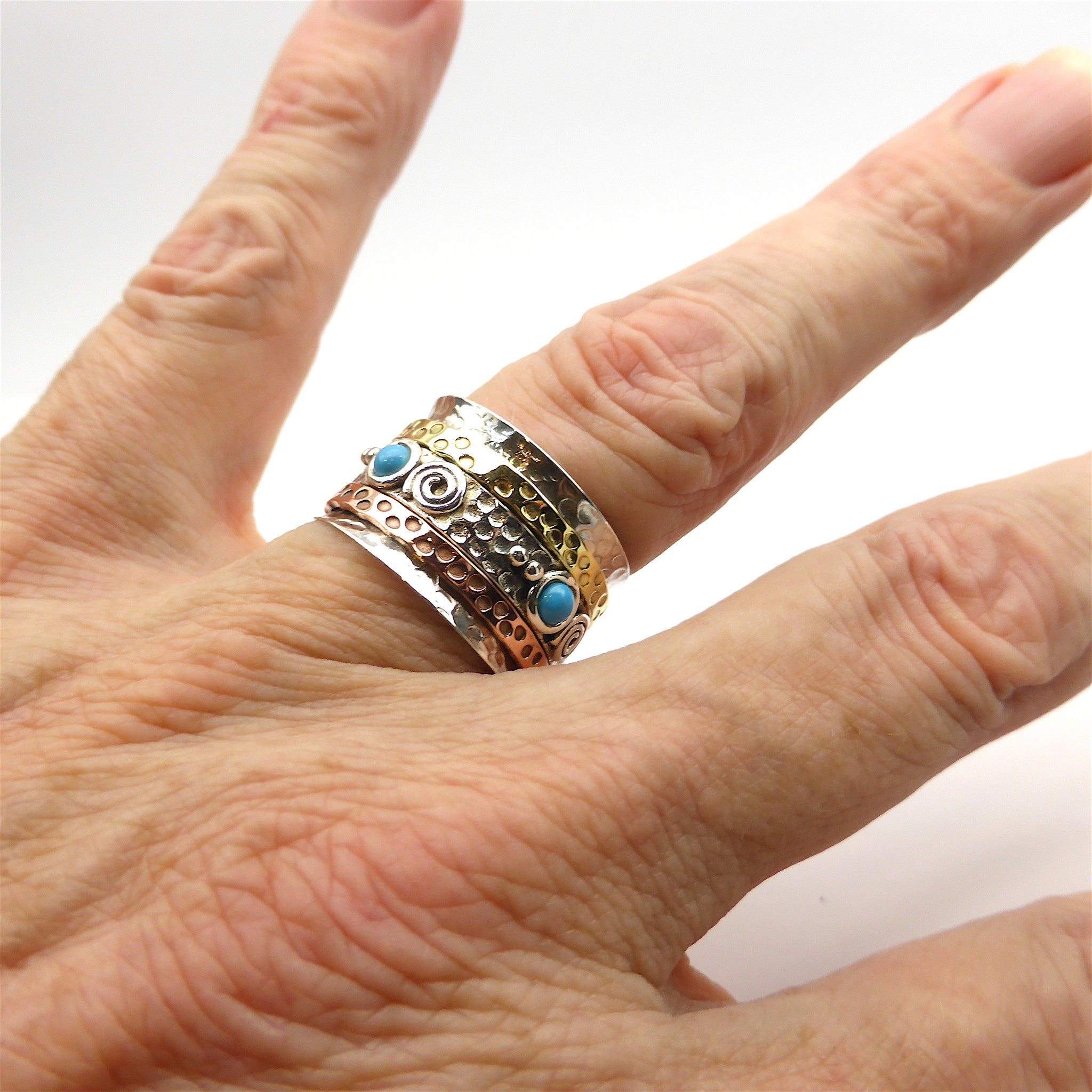 3 tone ring with spinning bands | 925 Sterling Silver | 4 Turquoise Cabs | Crystal Heart Melbourne Australia since 1986