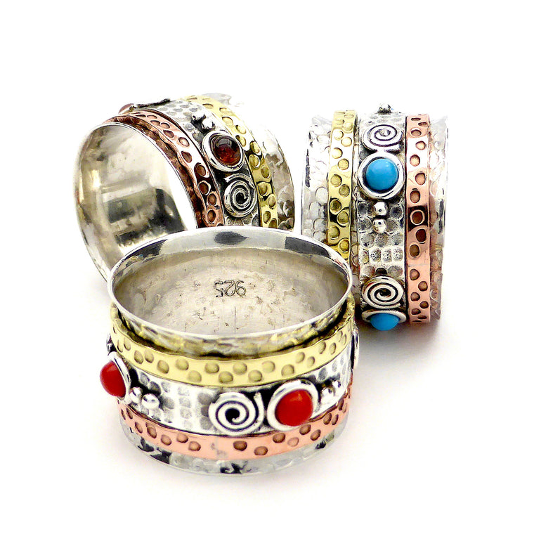 Coral Spinnning Ring, 2 tone 925 Silver Copper & Brass, g2