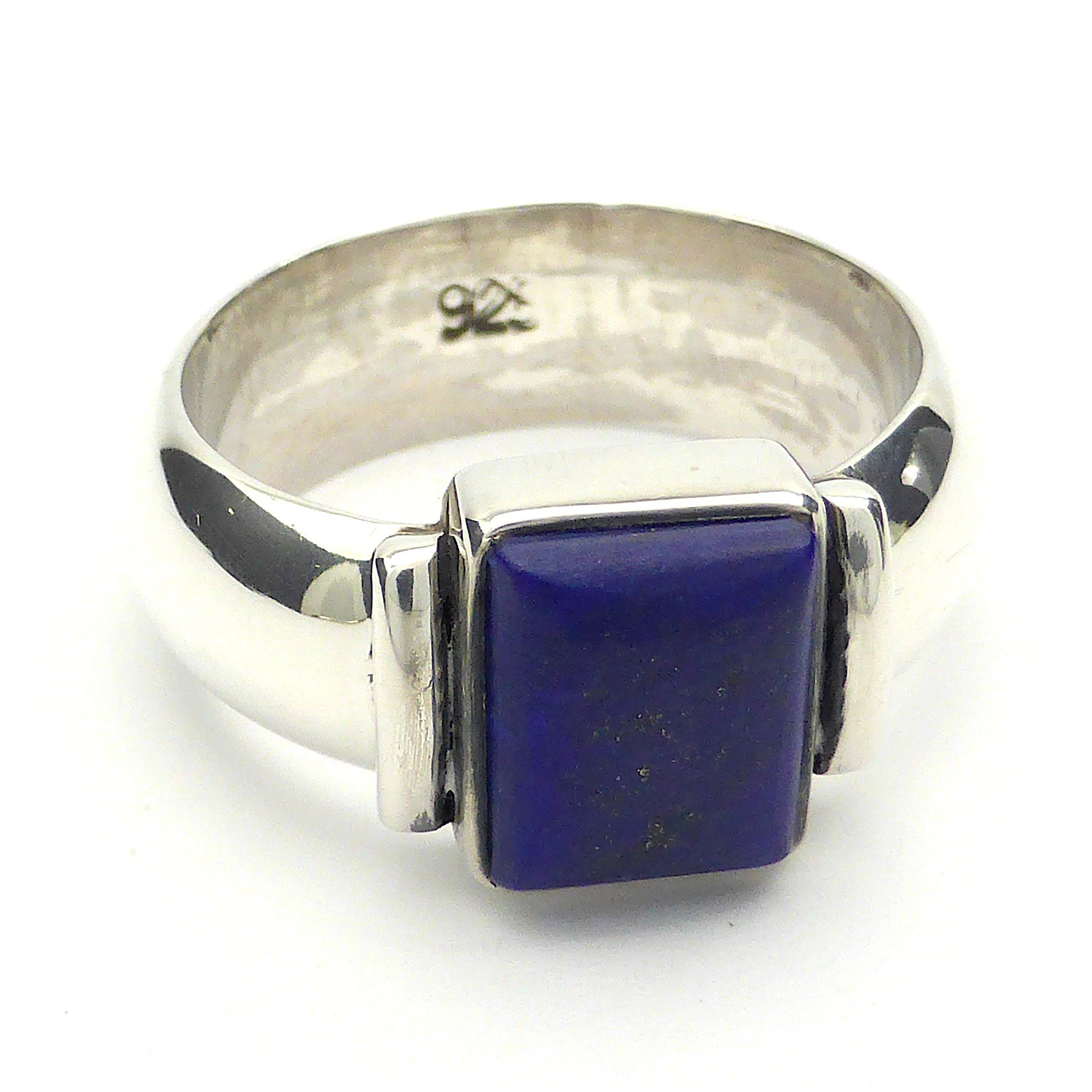 Lapis Lazuli Ring, wide Band, 925 Silver, mj