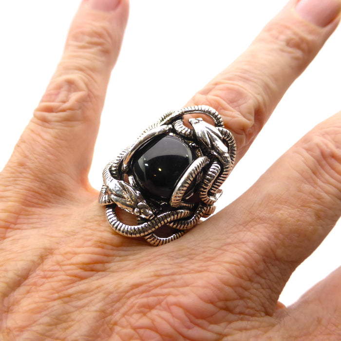 Genuine Black Onyx Cabochon Ring | Wrapped in Tantric Twining of paired Snakes | 925 Sterling Silver | Large sizes | Crystal Heart since 1986