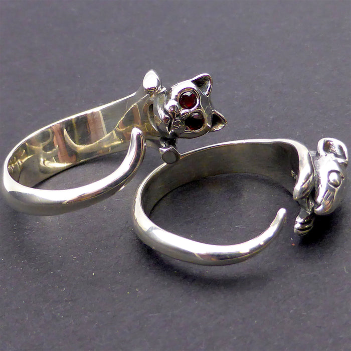 Ring Set Cat & Mouse | 925 Sterling Silver | Garnet eyes | Tom and Jerry Jewellery | Crystal Heart Melbourne Australia  since 1986
