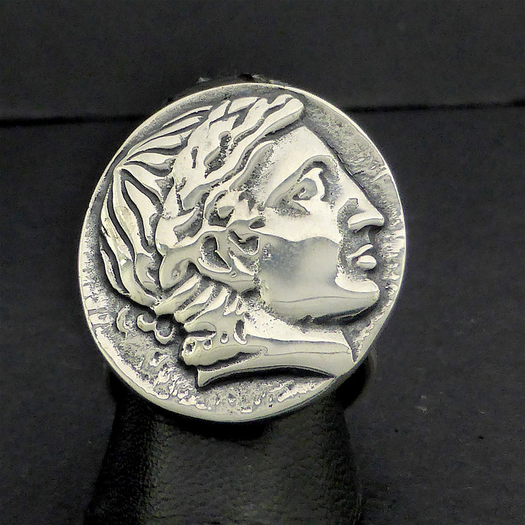 Ancient Coin Ring Caesar 925 Silver