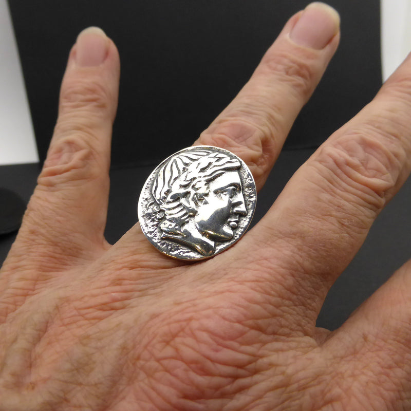 Ancient Coin Ring Caesar and Victory | 925 Sterling Silver copy of original |  Adjustable | Crystal Heart Melbourne Australia since 1986