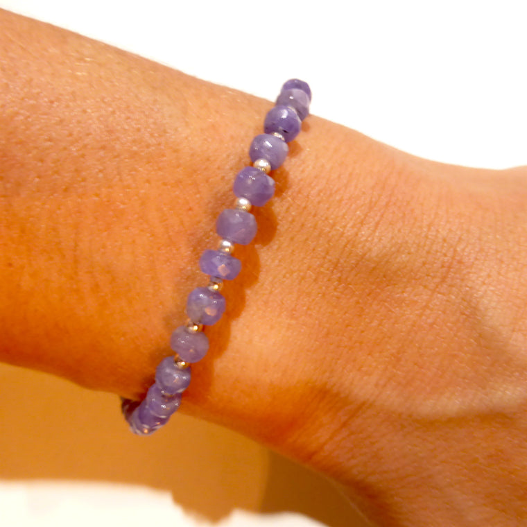 Tanzanite Bracelet | Faceted beads | 925 Silver nx