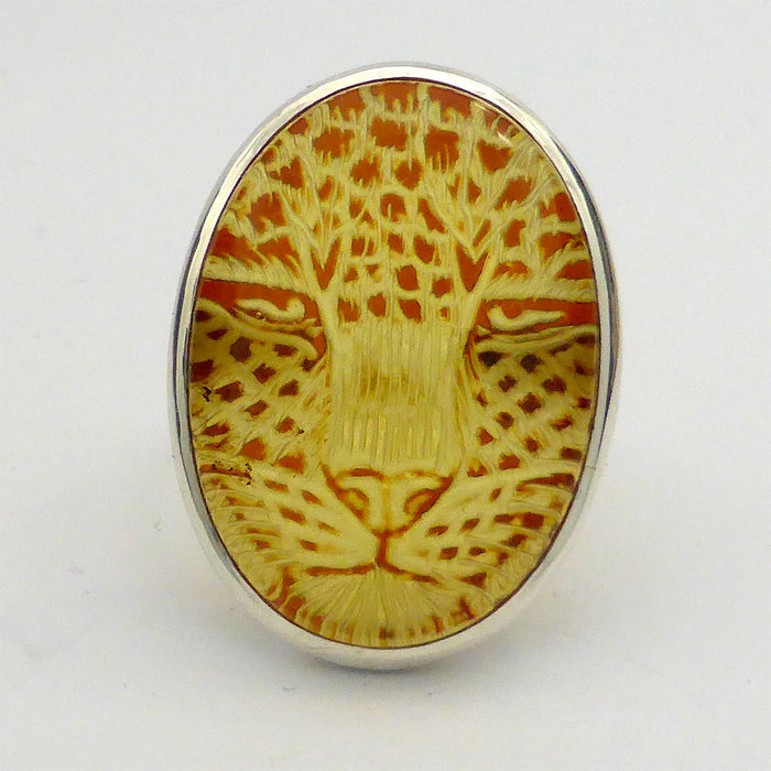 Amber ring, Baltic, Jaguar Carving