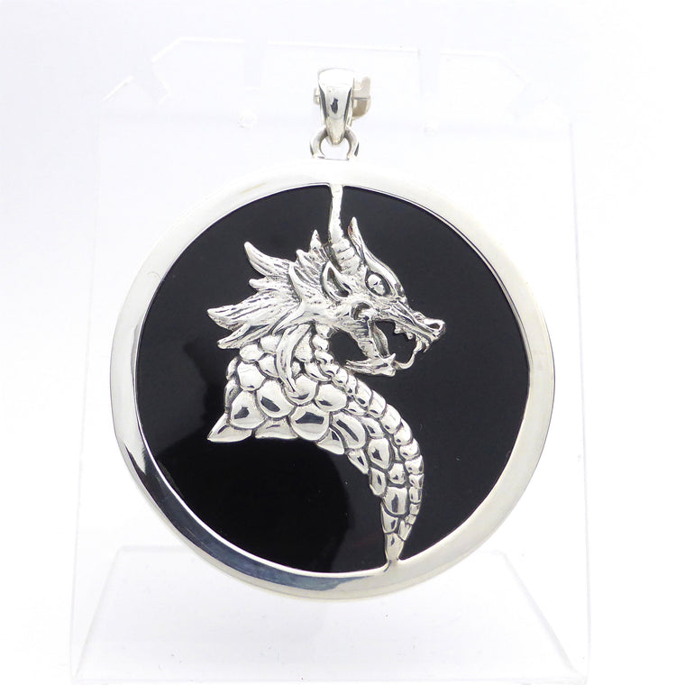 Dragon Pendant on Black Onyx, 925 Silver