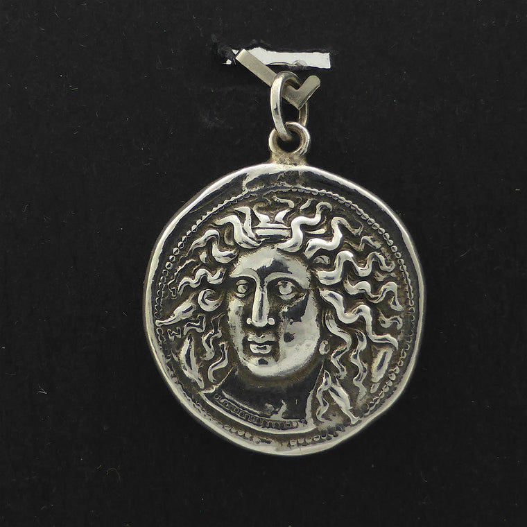 Ancient Coin Pendant Arethusa Nike 925 Silver