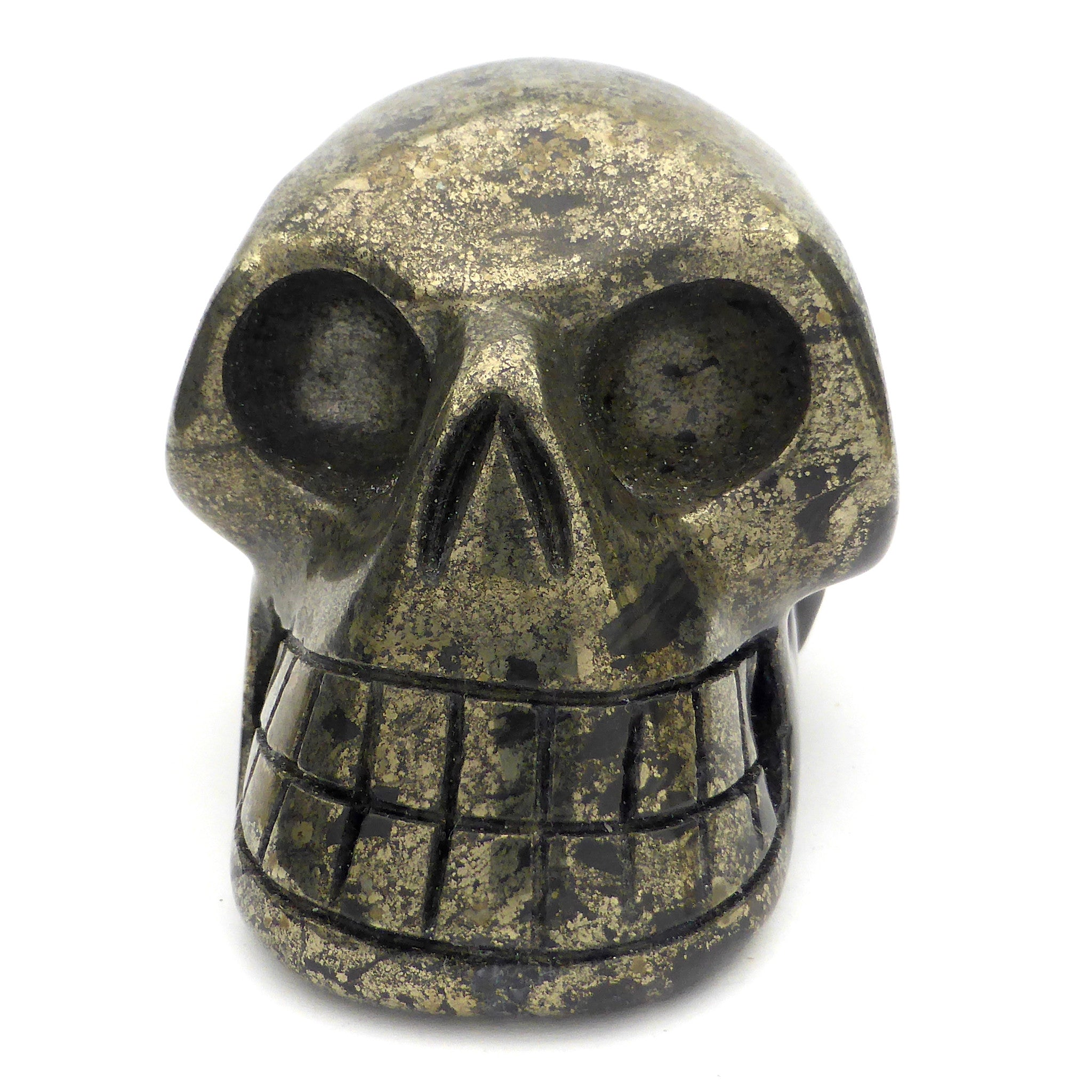 Skull Hand Carved from Healers Gold | Pyrites | Magnetite | Crystal Heart Melbourne Australia since 1986