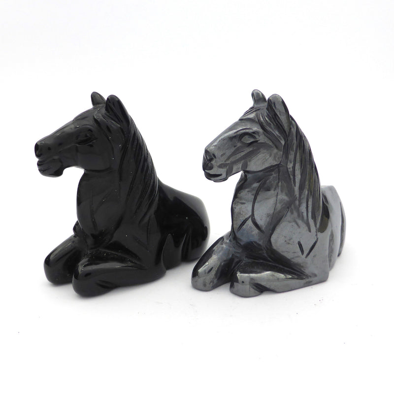 Horse Carving | Hematite | Black Onyx | Crystal Heart Melbourne Australia since 1986