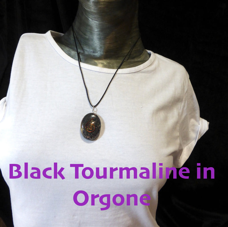 Orgone Crystal Pendant | Black Tourmaline Chips in Orgonite Oval | Shield Radiation Protect from Negative energy | Attract Prana Ch'i Qi | Includes black cotton cord | Crystal Heart Australian Alternative Megastore est. 1986