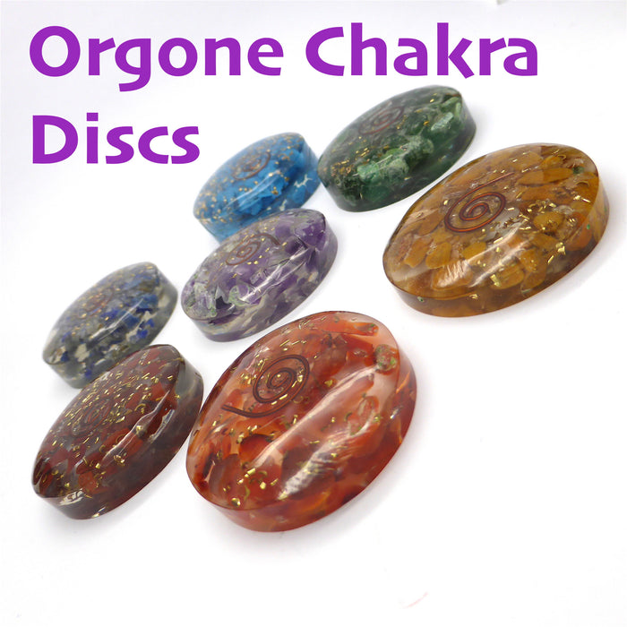 Orgone & Crystal Chakra Healing Set | Heal Unblock Balance | Combine Orgone and Crystal Energy | 7 discs of Organite with Red Jasper, Carnelian, Orange Jasper, Turquoise, Green Aventurine, Lapis Lazuli and Amethyst | Crystal Heart Melbourne Australia since 1986