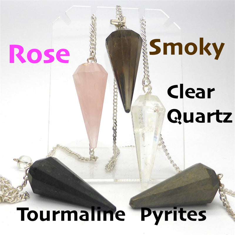 Faceted Point Gemstone Pendulum | Rose Quartz | Clear quartz | Smoky Quartz | Black Tourmaline | Fool's Gold | Crystal Heart Melbourne Australia since 1986