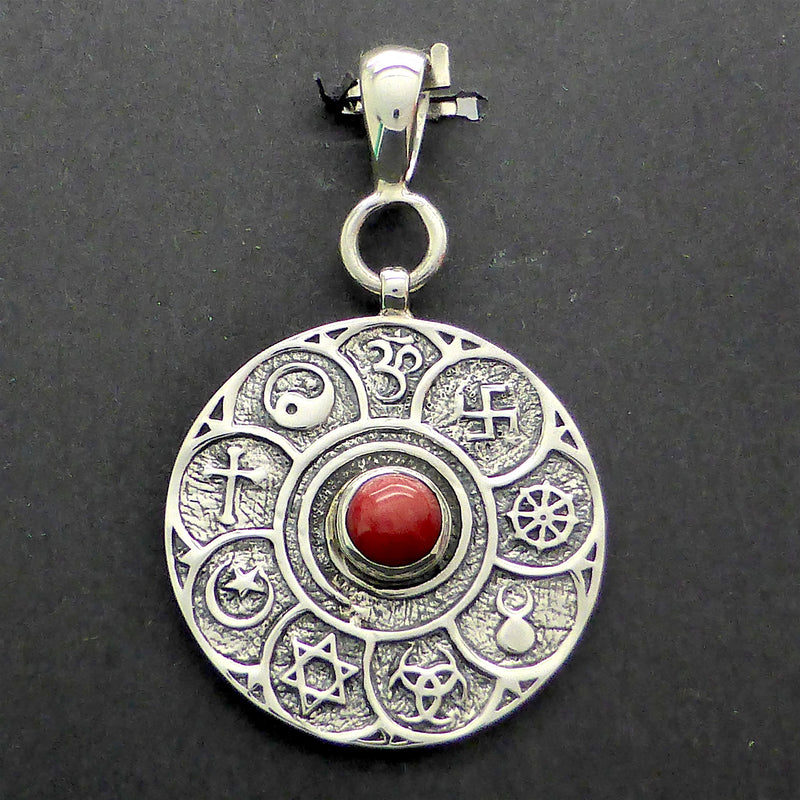 Red Coral Pendant With Multi Faith Symbols 925 Sterling Silver