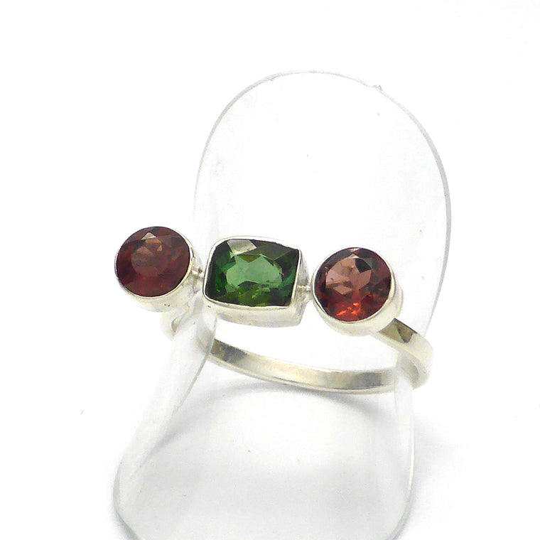 Tourmaline Ring, Faceted Red and Green Stones, 925 Silver kt
