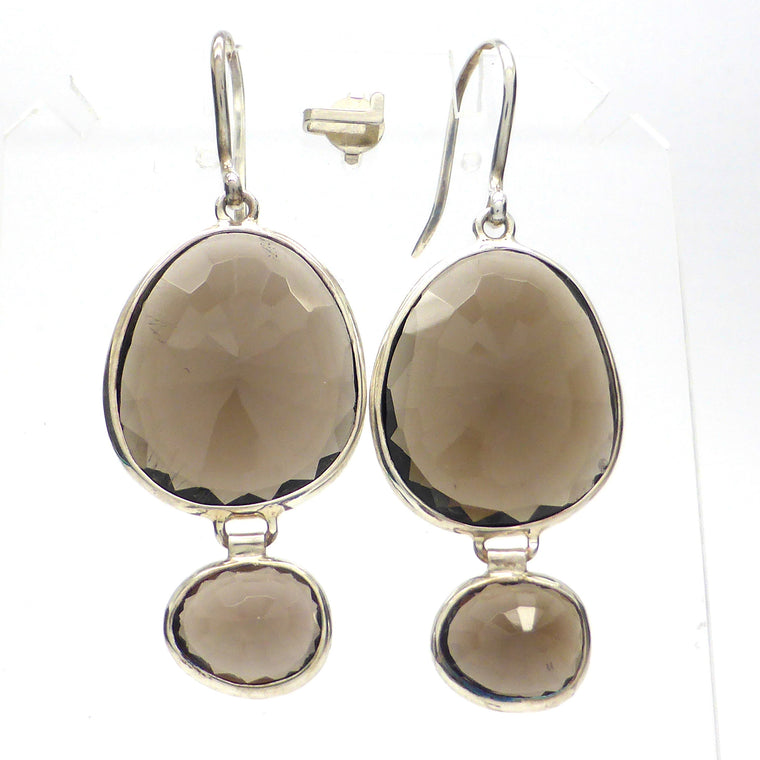 Smoky Quartz Earring, Faceted Freeform, 925 Silver kt2