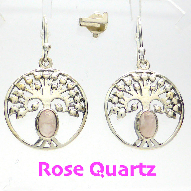 Rose Quartz Earring | Cabochon | 925 Silver Tree ks1