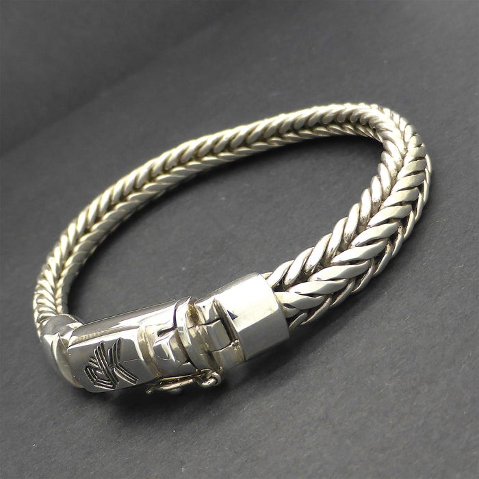 Bracelet 925 Sterling Silver Snake Chain | Oval Cross Section | Strong Push Pull Clasp | Masculine style with a touch of class | Crystal Heart Melbourne Australia since 1986