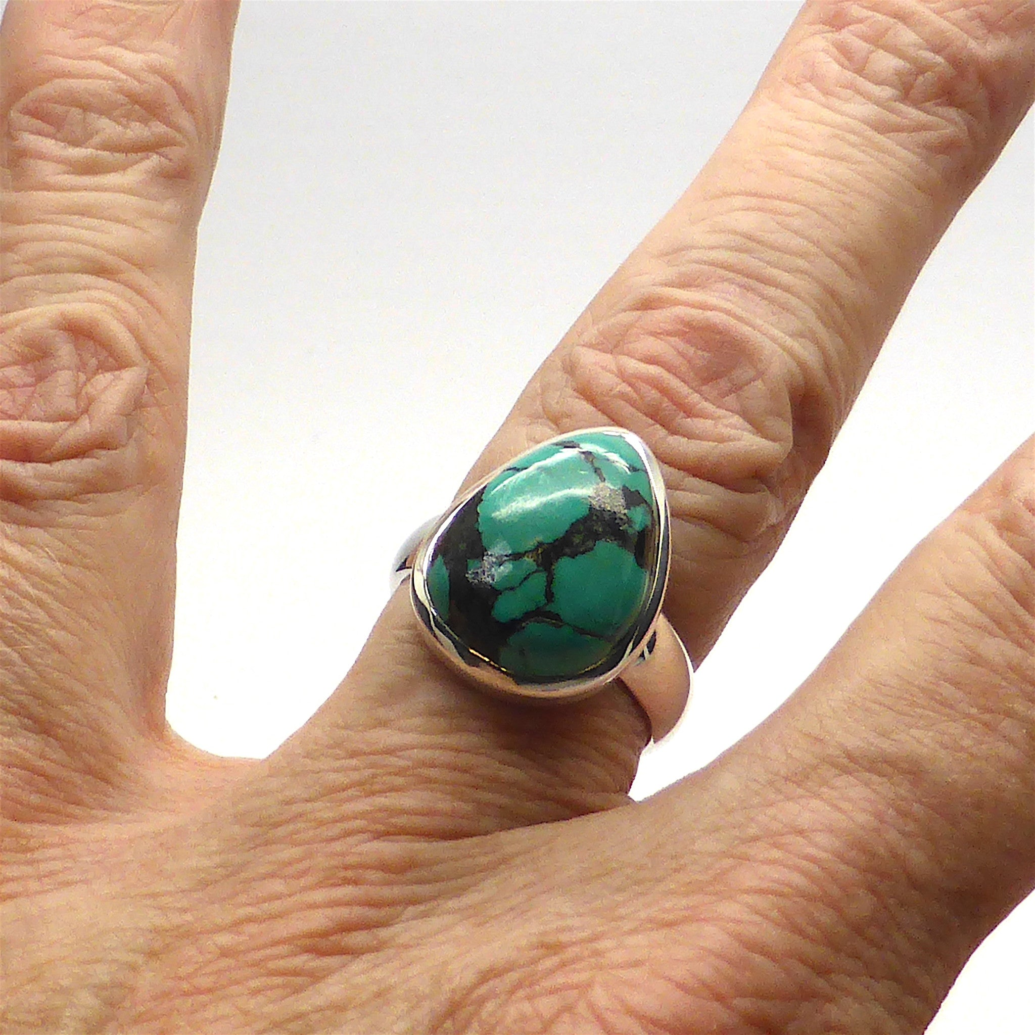 Ring Tibetan Turquoise Tear | 925 Sterling Silver | US Size 9 | Crystal Heart Melbourne Australia since 1986