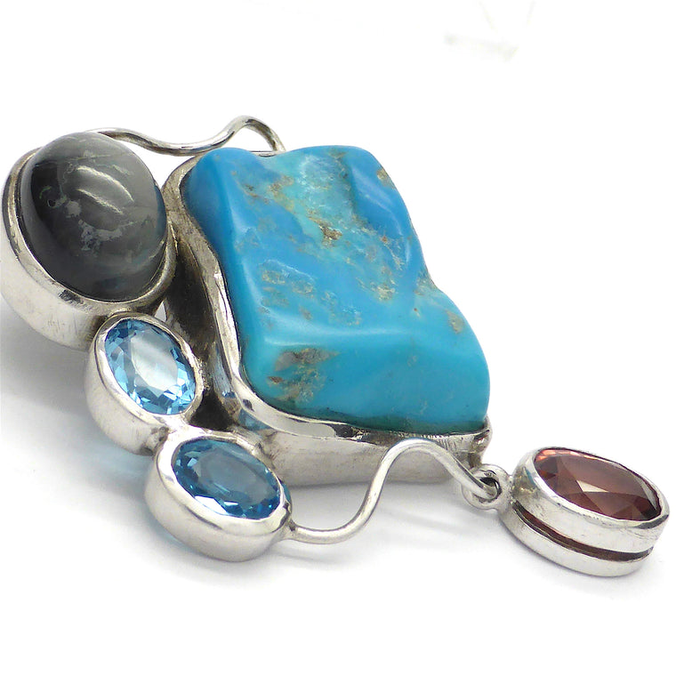Pendant Turquoise with Cats Eye, Topaz, Rubellite
