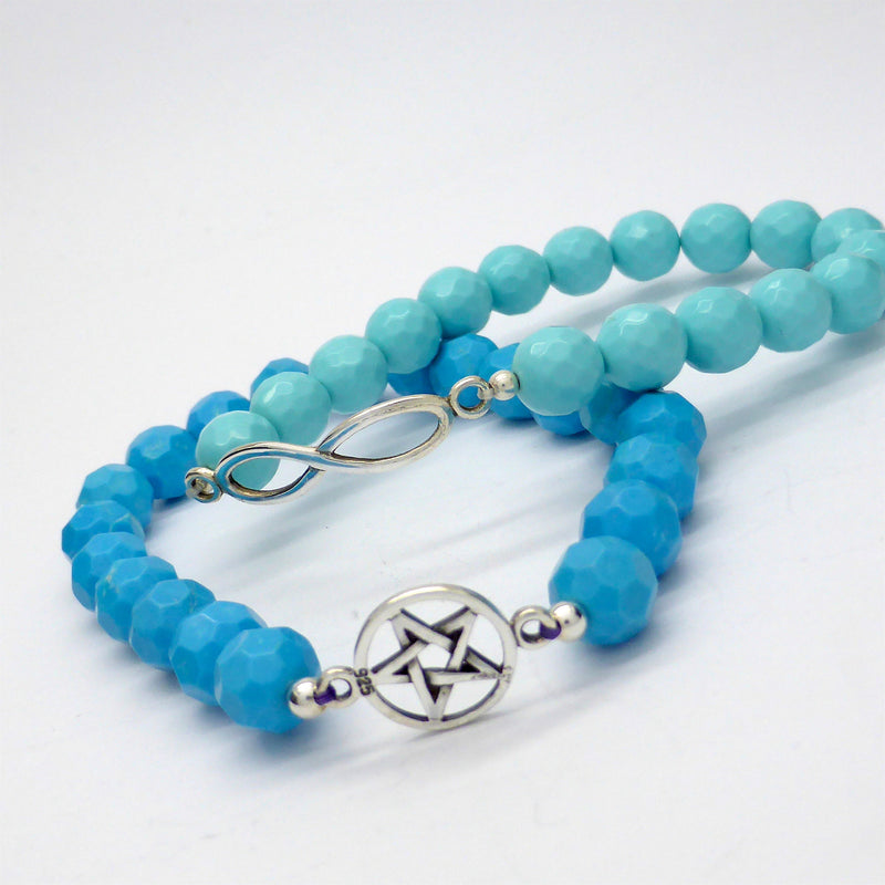 Gemstone Bead Stretch Bracelet with Charm | 925 Sterling Silver | Pentacle Symbol | Rose Quartz | Turquoise | Crystal Heart Melbourne Australia since 1986