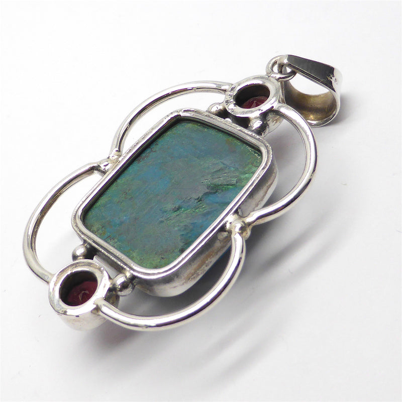 Chrysocolla Oblong Pendant with Garnet | 925 Sterling Silver | Framed in Silver Arcs | Crystal heart Melbourne Australia since 1986