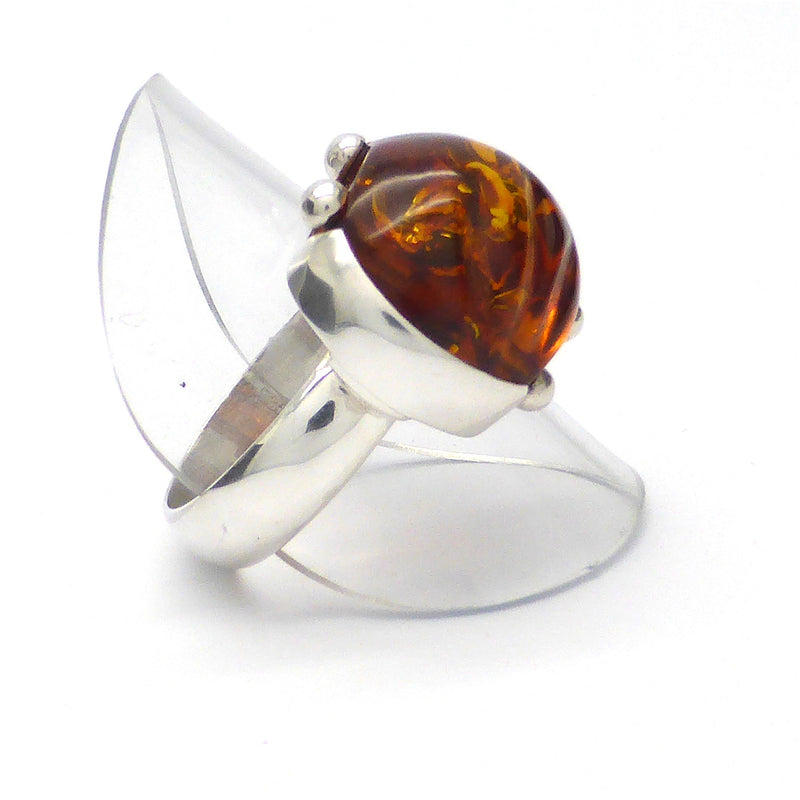 Amber Cabochon Ring | 925 Sterling Silver | Steampunk Unisex Design |uS Size 8.5 | Super Leo present | Luck Prosperity Health | Crystal Heart Melbourne Australia since 1986