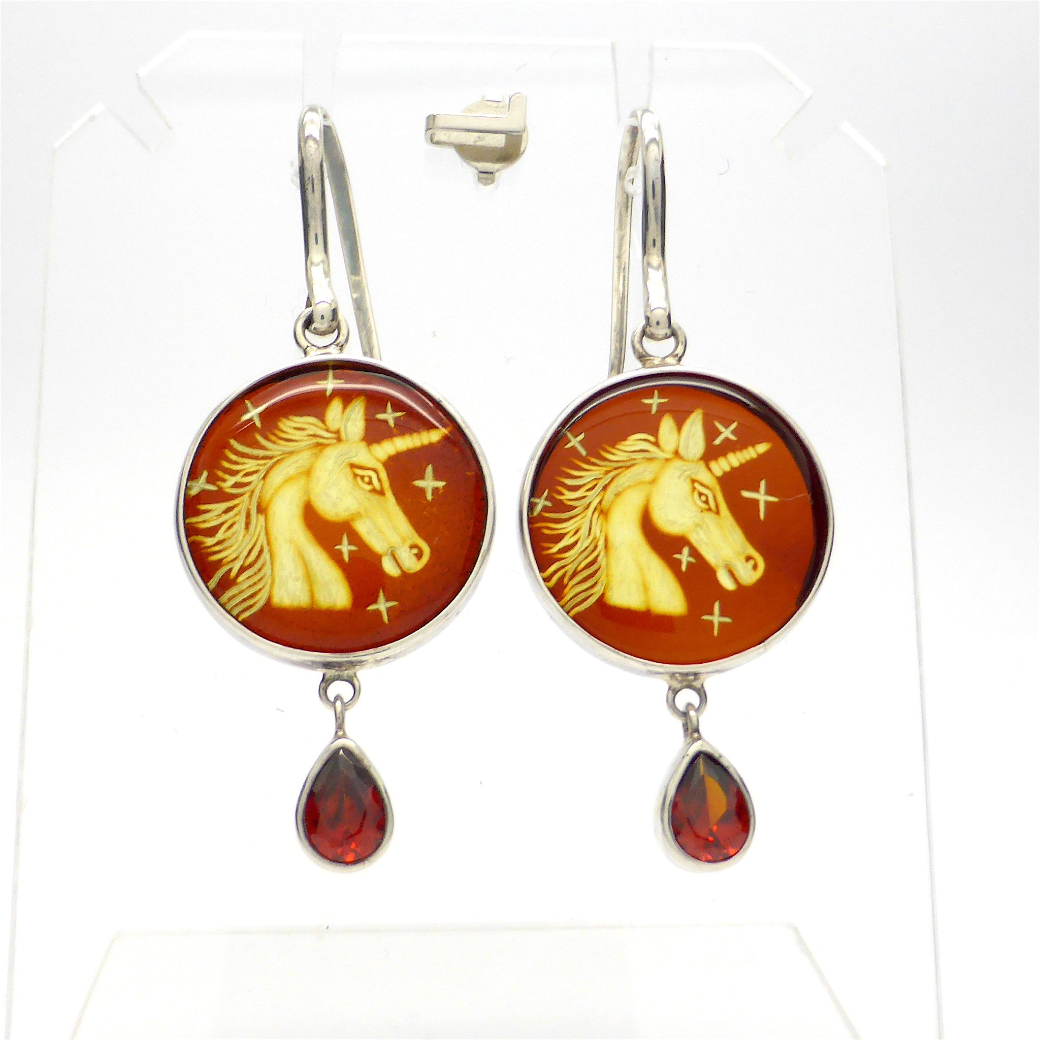 Unicorn Carved in Baltic Amber Earrings with Garnet drops | 925 Sterling Silver | Super Leo present | Crystal Heart Melbourne Australia since 1986