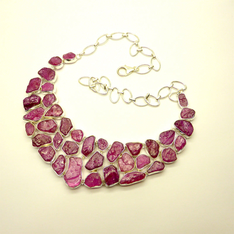 Ruby Raw Nugget Necklace | 925 sterling Silver | Authentic Ruby Pigeon's Blood Red | Crystal Heart Melbourne Australia since 1986