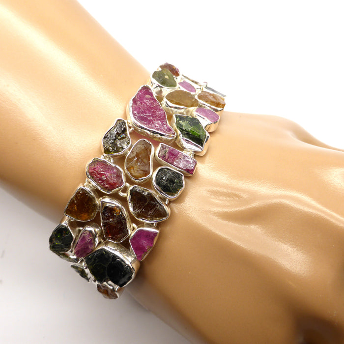 Bracelet Tourmaline Raw Stone Nuggets | 925 Sterling Silver | Red Green Gold Tourmaline | Rubellite |  Crystal Heart Melbourne Australia since 1986