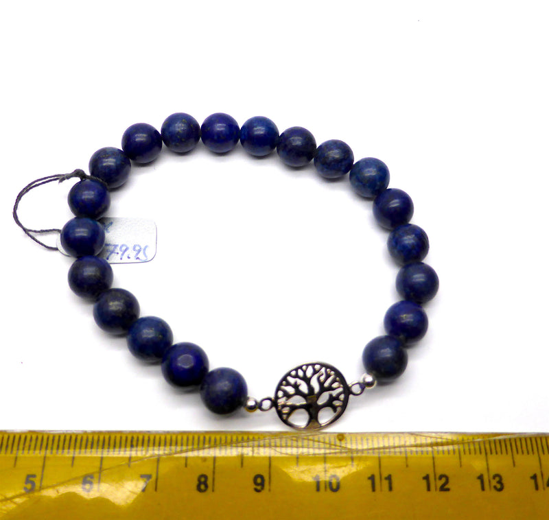 Genuine Lapis lazuli Beads make a lovely Charm Bracelet | Sterling Silver Tree of Life | Strong Elastic | Crystal Heart Melbourne Australia since 1986