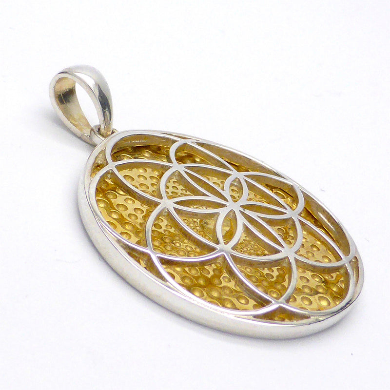 Flower and Seed of Life combined Pendant | 925 Sterling Silver & Gold Plate | Harmonise Personal with Universal | Crystal Heart Australia since 1986