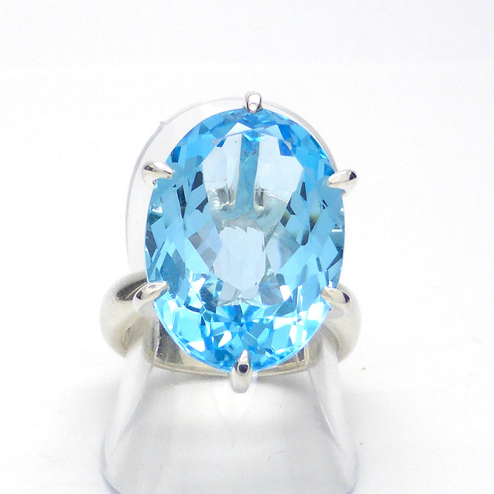 Blue Topaz Ring | Faceted Oval | 925 Sterling Silver | Large Flawless Authentic Gemstone | Crystal Heart Melbourne Australia since 1986