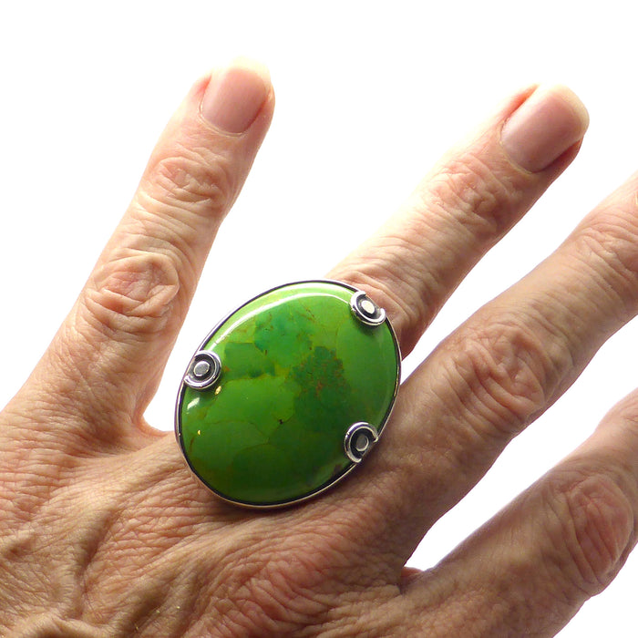 Very Large Oval Cabochon | Authentic Gaspeite from West Australia | 925 Sterling Silver | US Size 8 | Crystal Heart Melbourne Australia since 1986
