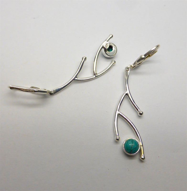 Arizona Turquoise Earring | 925 Sterling Silver | Lever Hooks | Stylish Nature Branch Design | Crystal Heart Melbourne since 1986