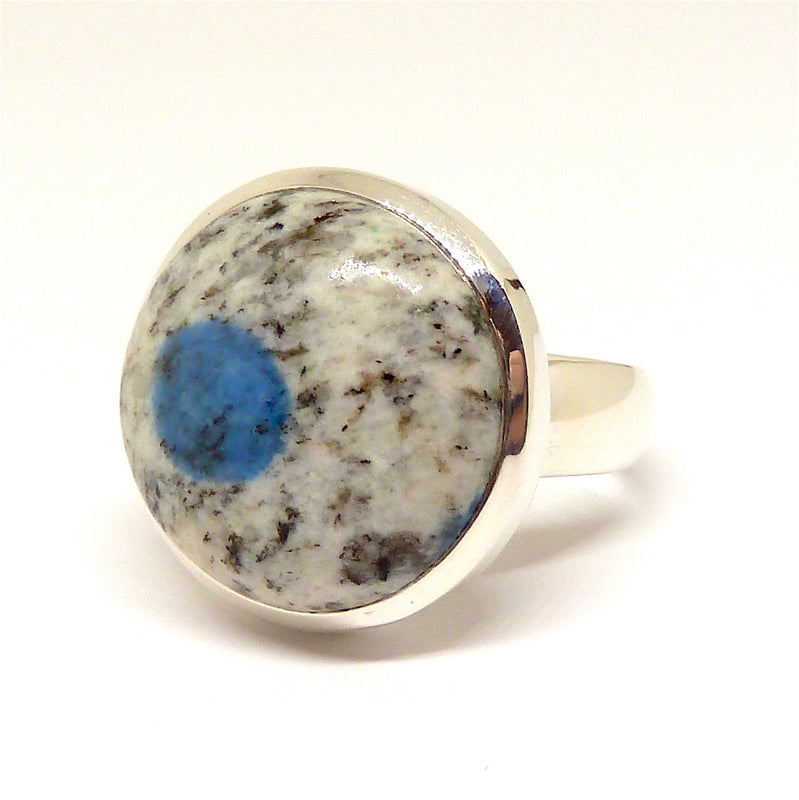 K2 = Azurite flowers in white Granite | Ring | US size 8 | 925 Sterling Silver | Round Cab | Spiritual insight grounded relaxed | Crystal Heart Melbourne  1986