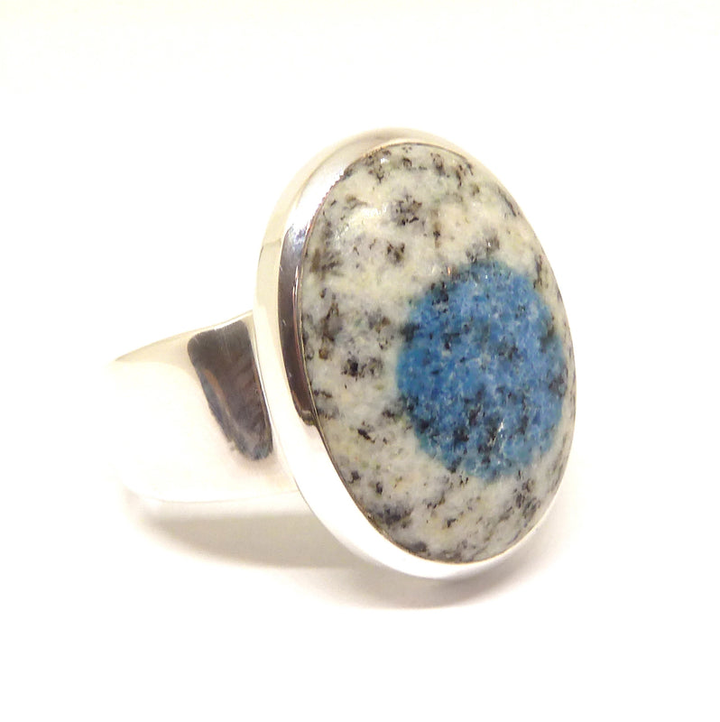K2 = Azurite flowers in white Granite | Ring | US size 10 | 925 Sterling Silver | Oval Cab | Spiritual insight grounded relaxed | Crystal Heart Melbourne  1986