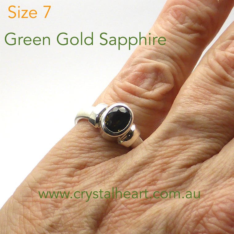 Sapphire - Green & Gold Silver Ring