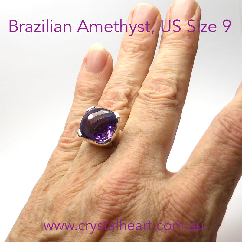 Brazilian Amethyst Ring Large Square Faceted Stone | 925 Sterling silver | US size 9 | Crystal Heart Melbourne Australia since 1986