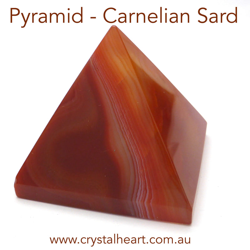 Carnelian Agate Sard Sardonyx Pyramid | 40 mm base | Channel Spiritual & Creative Energy into material | Aries Leo Cancer Star Stone  | Crystal Heart Melbourne since 1986