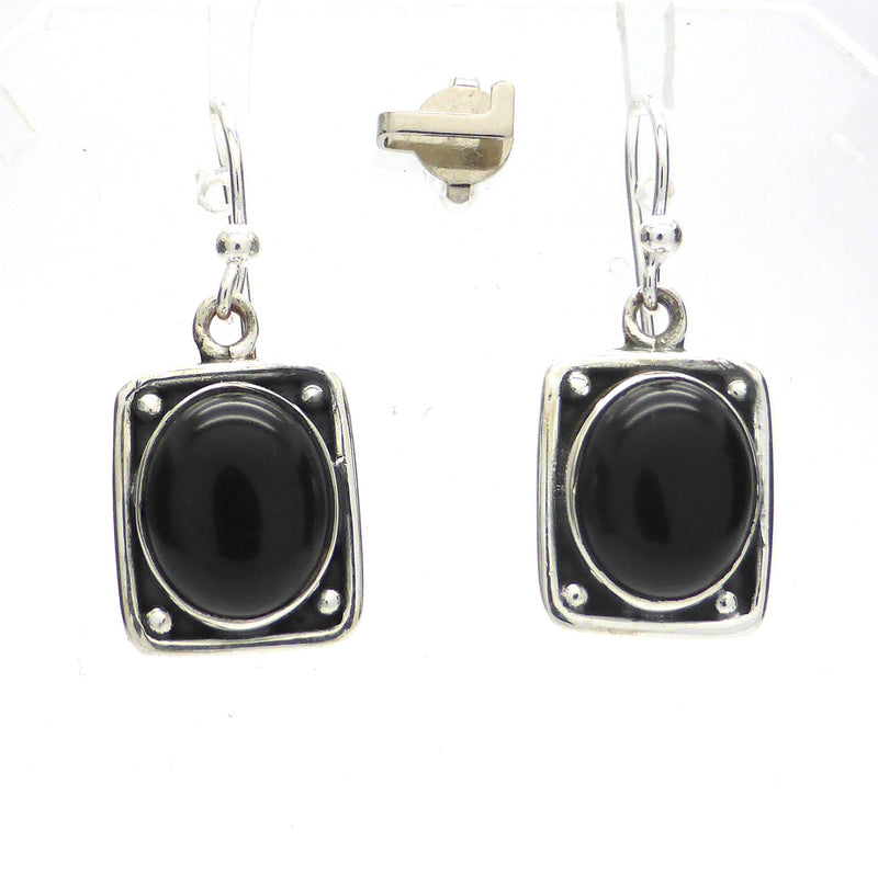 Black Onyx Earring Cabochon | 925 Silver | Medieval | Gothic | Crystal Heart Melbourne Australia since 1986